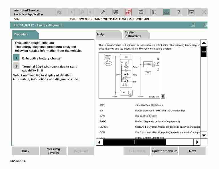 ISTA Energy diagnosis screenshot