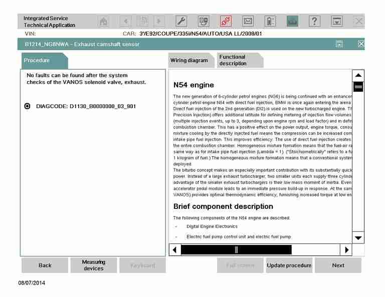 ISTA/D Vanos test – 2008 E92 335i